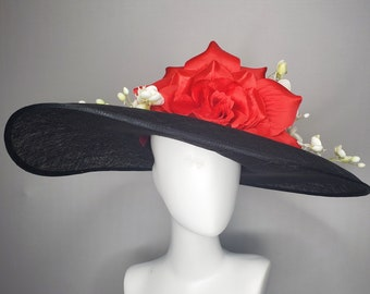 kentucky derby hat wide brim black sinamay with large bright satin red rose flower and cascading white orchid flower decor