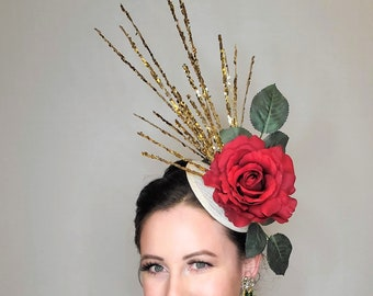 kentucky derby hat fascinator hat white ivory neutral sinamay base with large red rose and  gold glitter branches