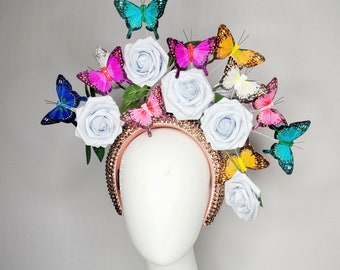 kentucky derby hat fascinator rose gold swarovski crystal headband with rainbow pink yellow green red butterflies and light blue gray roses