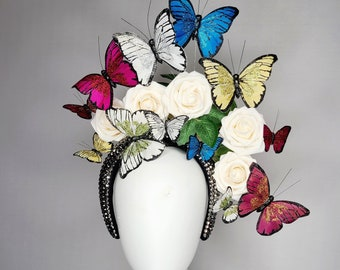kentucky derby hat fascinator black swarovski crystal headband with rainbow pink gold red blue butterflies with white ivory roses