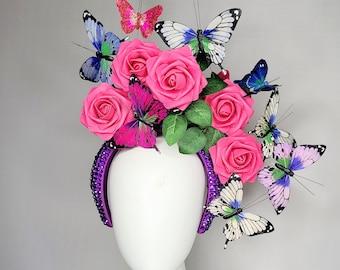kentucky derby hat fascinator swarovski crystal rhinestone headband in  purple  with pink roses colorful multicolor jewel tone butterflies