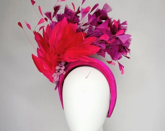 kentucky derby hat fascinator bright pink feathers with fuchsia pink velvet headband purple violet feathers and flowers