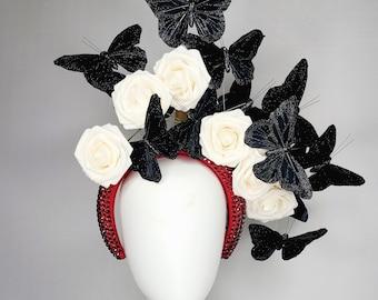 kentucky derby hat fascinator red  rhinestone swarovski crystal headband with white cream roses with black butterflies