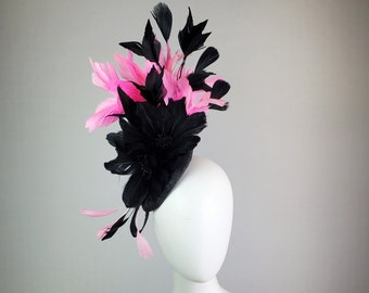 black kentucky derby hat fascinator black feather flowers with bright pink feathers cascade and black feather decor