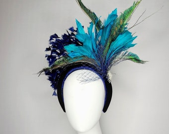 kentucky derby hat fascinator teal feathers with navy blue velvet headband feathers and horsehair with peacock feathers pearl brooch