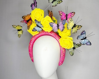 kentucky derby hat fascinator pink crystal headband with bright yellow roses and rainbow butterflies purple green yellow pink blue
