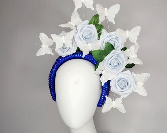 kentucky derby hat fascinator royal blue swarovski crystal headband with light blue flower roses with silver white butterflies