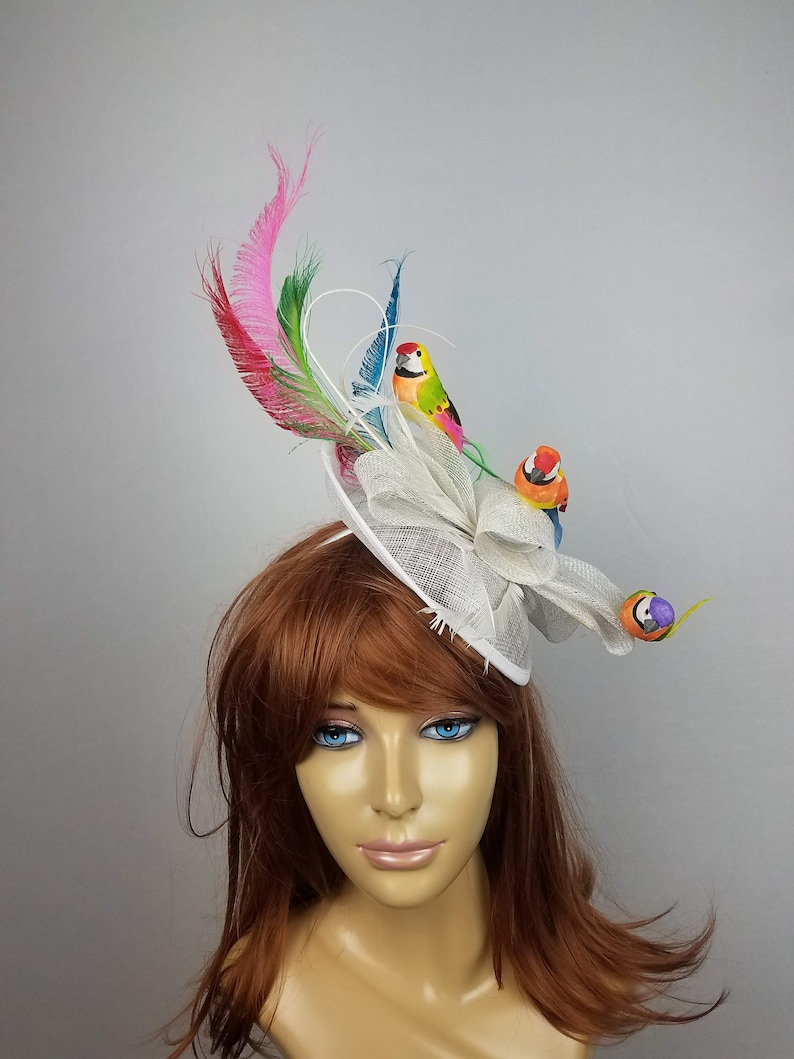 e06e686d Kentucky derby hat fascinator feather sinamay white cream | Etsy