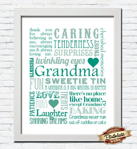 Personalised Nana Word Art Gift Grandma Present Nanny Gift Birthday Mum Nan