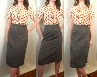 Vintage Grey Skirt S XS High Waist A Line Pencil Below the Knee Textured Tweed