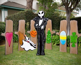 2018 nightmare before christmas extras 38000 jack skellington in the forest of trees - Nightmare Before Christmas Lawn Decorations