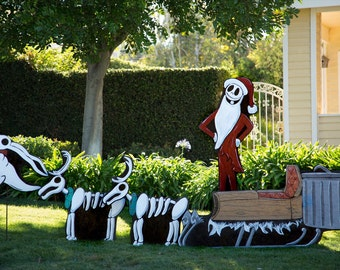 jack and sleigh set - Nightmare Before Christmas Lawn Decorations