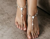 Barefoot Sandals, Anklet, Wedding Foot jewelry, Beach wedding Barefoot Sandal, Bridal Barefoot Sandals, footless sandal, Crystal barefoot