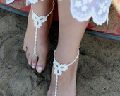 Crochet Ivory Barefoot Sandals, Foot jewelry, Bridesmaid gift, Barefoot sandles, Beach, Anklet, Wedding shoes, Beach Wedding, Summer shoes