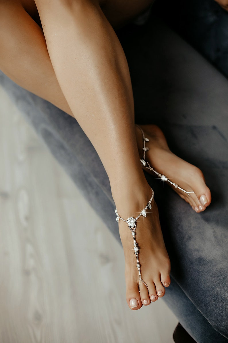 Anklet Barefoot Sandals Bridal Barefoot Sandals footless sandal Wedding Foot jewelry Beach wedding Barefoot Sandal Crystal barefoot