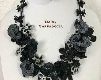 Turkish Tığ OYA Lace - Necklace BIJOU Black & Gray - Crocheted Jewelry Wedding Bib Flowers Accessories Dresses Needle Work
