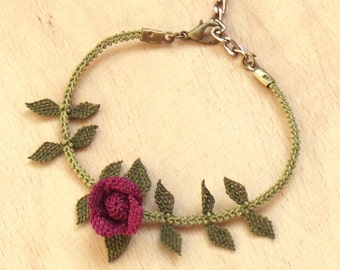 Turkish OYA Lace - Silk Bracelets - Rose- Burgandy