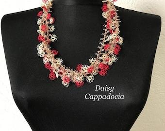 Turkish Tatting Lace - Necklace Red & White - Crocheted Jewelry Wedding Bib Flowers Accessories Dresses Jewelry
