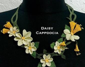 Turkish İğne OYA Lace - Needle Lace Necklace - Daisy & Buds Yellow - Wedding Accessories Dresses Jewelry
