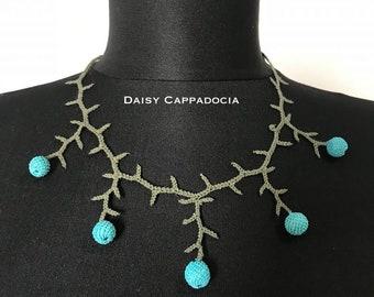 Turkish İğne OYA Lace - Needle Lace Necklace - BONBON Light blue - Wedding Bib Flowers Accessories Dresses Jewelry