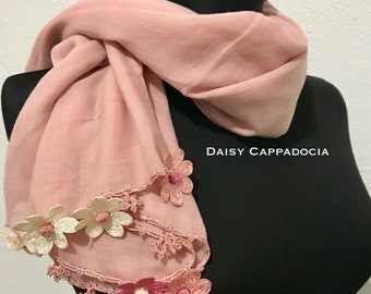 Turkish OYA Lace - Cotton stole/Shawl DAISY Pink- Scarf Shawl For Her Gift For Women Winter Scarf Women Fashion Accessories