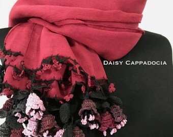 Turkish OYA Lace - Flower stole/Shawl  - Rose red  Scarf Shawl For Her Gift For Women Spring Scarf Women Fashion Accessories