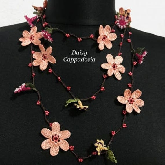 Pink flower necklace Lariat Jewelry Flower jewelry Cherry Blossom Necklace Beaded necklace