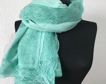 Turkish Organic cotton Lace stole/Shawl  - Emerald green Shawl For Her Gift For Women Scarf Women Fashion Accessories