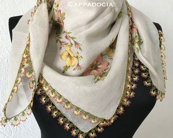 Turkish Flower OYA Lace - Soft Cotton Scarf Yellow & Cream - Scarf For Her Gift For Women Scarf Women Fashion Accessories