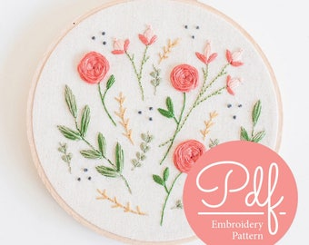 FLORAL BURST - Embroidery pattern - PDF Digital Download