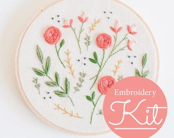 FLORAL BURST Embroidery Kit ~ Do it Yourself Embroidery Kit with Pattern