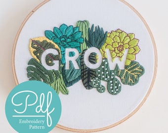 GROW - Embroidery pattern - PDF Digital Download - Brynn&Co and Katrina Sophia Art