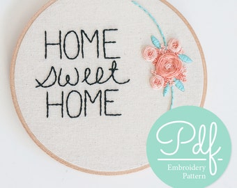 Home Sweet Home - Embroidery pattern - PDF Digital Download