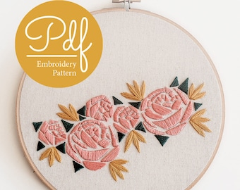 Geometric Florals - Embroidery pattern - PDF Digital Download