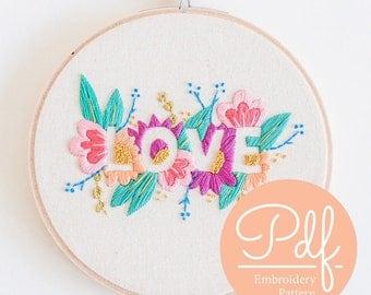 LOVE - Embroidery pattern - PDF Digital Download
