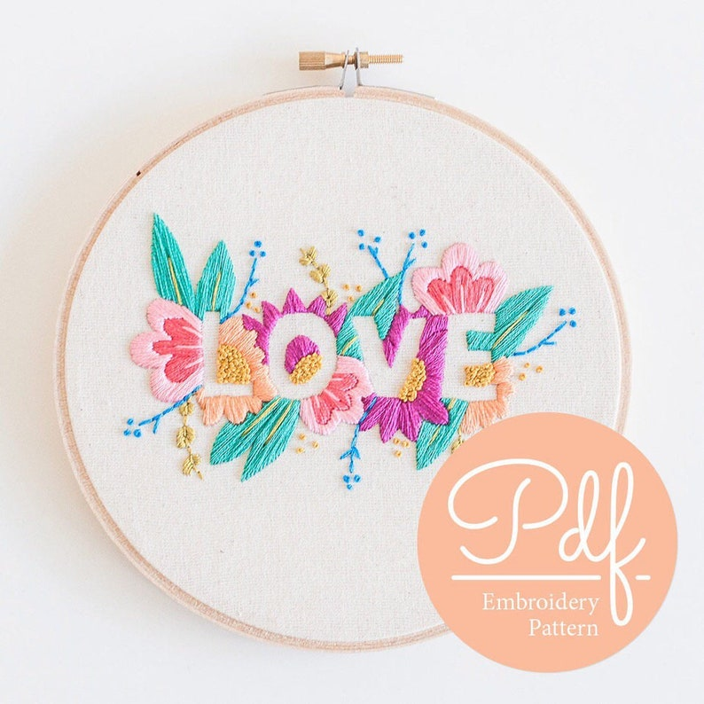 LOVE  Embroidery pattern  PDF Digital Download image 0