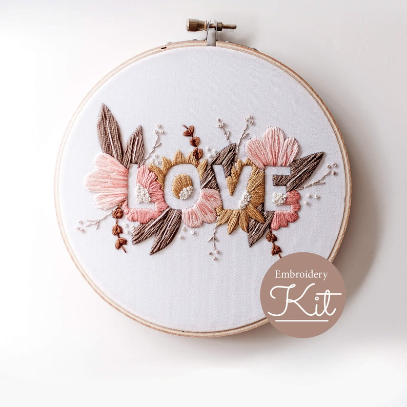 LOVE Embroidery Kit  Soft Palette  Do it Yourself Embroidery image 0