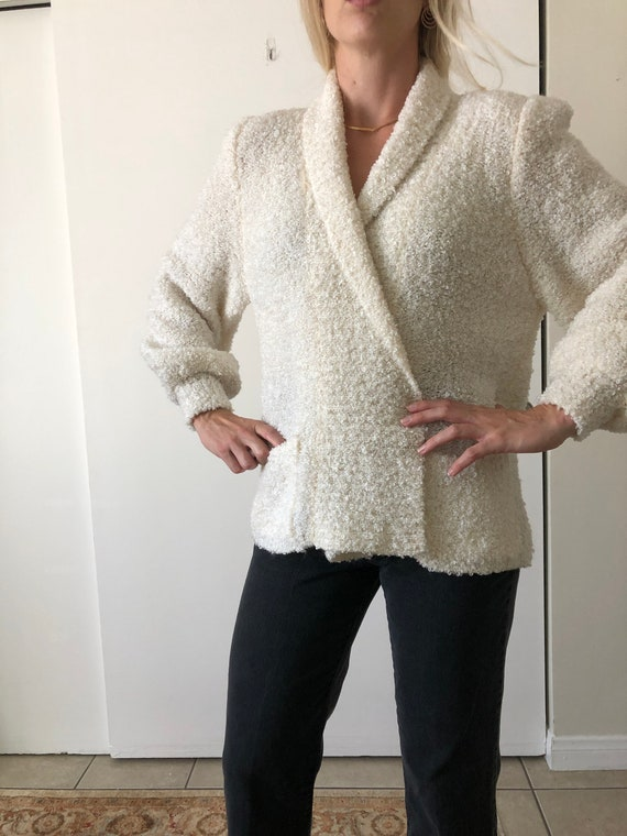 Vintage 80s Puff Sleeve Shoulder Pads White Fuzzy… - image 4