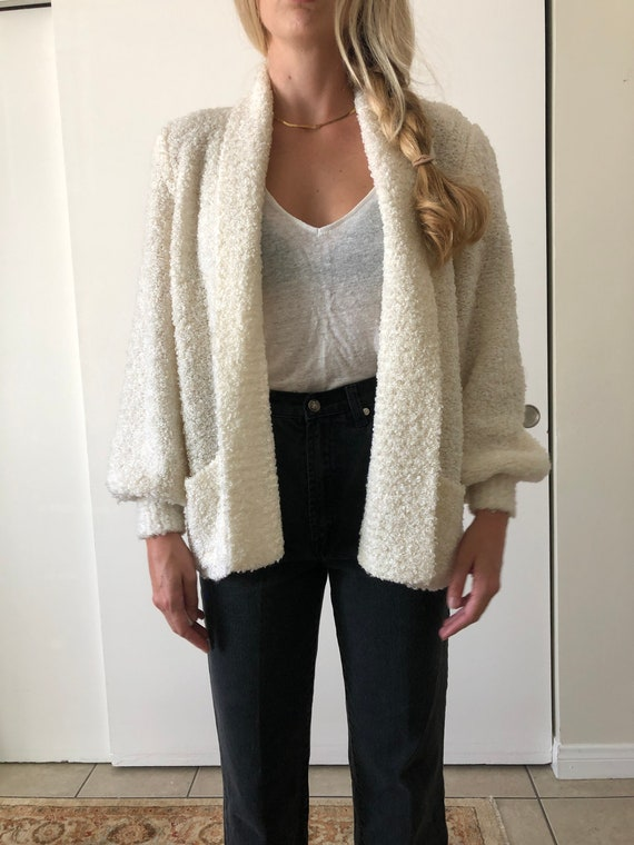 Vintage 80s Puff Sleeve Shoulder Pads White Fuzzy… - image 2