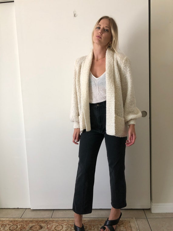 Vintage 80s Puff Sleeve Shoulder Pads White Fuzzy… - image 10