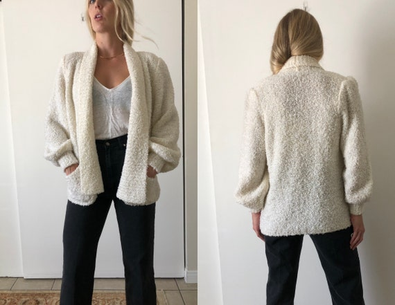 Vintage 80s Puff Sleeve Shoulder Pads White Fuzzy… - image 1