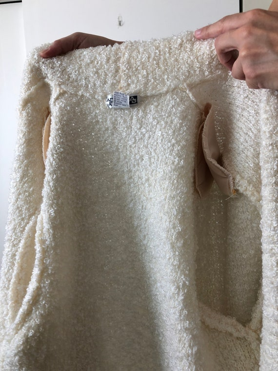 Vintage 80s Puff Sleeve Shoulder Pads White Fuzzy… - image 8
