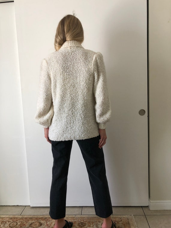Vintage 80s Puff Sleeve Shoulder Pads White Fuzzy… - image 6
