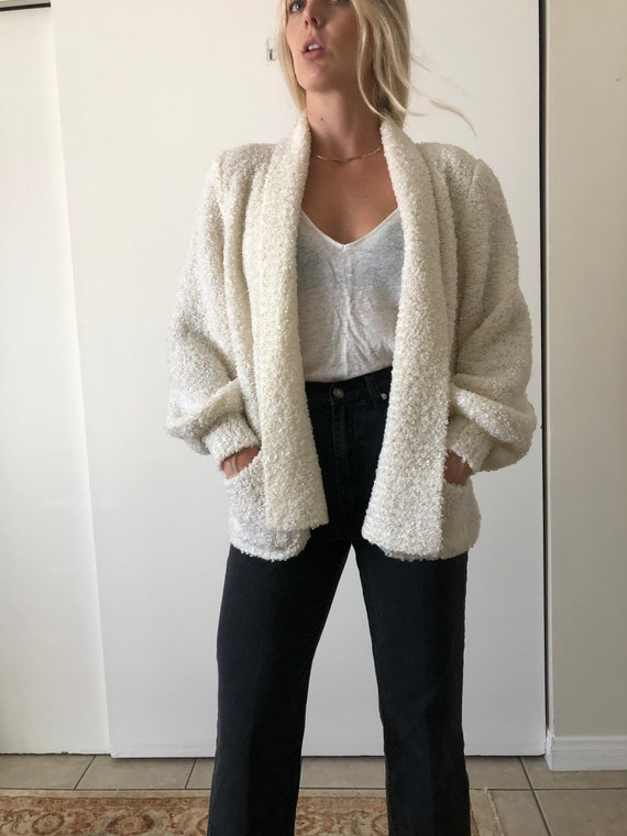 Vintage 80s Puff Sleeve Shoulder Pads White Fuzzy… - image 7