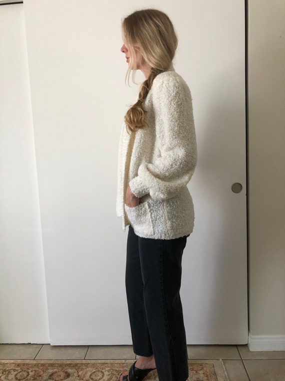 Vintage 80s Puff Sleeve Shoulder Pads White Fuzzy… - image 5