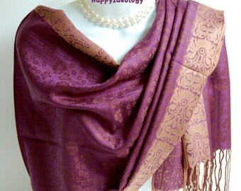 Purple Pashmina Scarf.Purple & Golden Beige Pashmina/Shawl.Elegant Pashmina Scarf.Wedding Wrap/Shawl.Evening Wrap/Shawl.Elegant Scarves