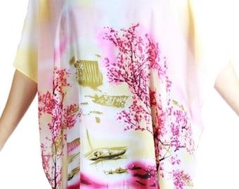 Beach Cover Up.Tropical Print Poncho/Tunic/Kimono.Beach Swimsuit Cover up.Beach Wrap.Cover Up.Beach Pareo. Chiffon Poncho/Tunic.Plus Size