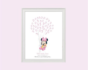 Minnie Mouse Baby Fingerprint Balloons Keepsake - BABY SHOWER - Christening - BIRTHDAY - Fingerprint tree - Guest book alternative