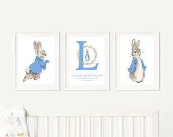 Peter Rabbit - Set of three prints -  Nursery Set - Gift - Beatrix Potter - Baby Gift -  Character • Birth • Baby Shower