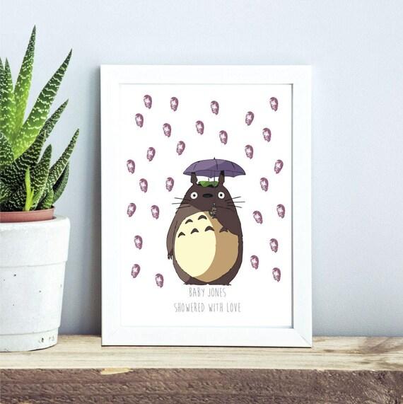 Totoro Fingerabdruck Baum Baby Dusche Taufe Geburtstag Andenken Gästebuch Alternative Studio Ghibli